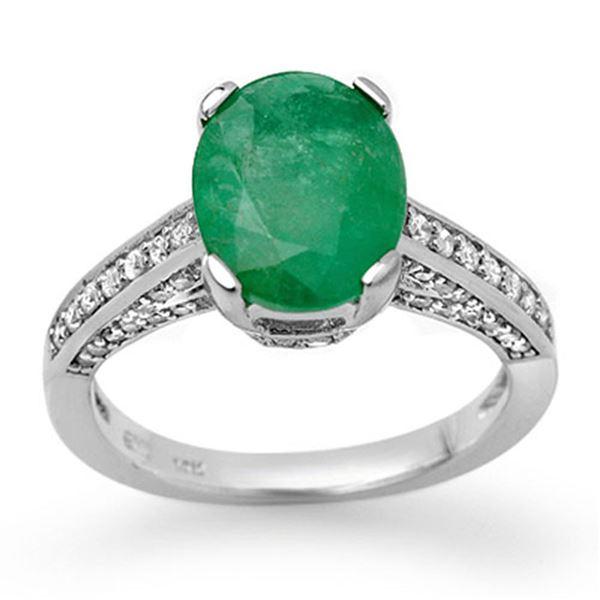 3.20 ctw Emerald & Diamond Ring 14k White Gold - REF-78K2Y