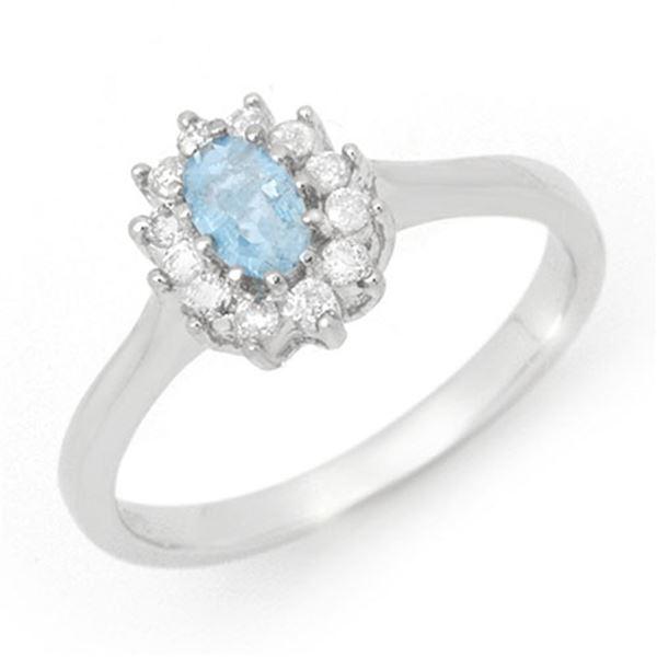 0.45 ctw Aquamarine & Diamond Ring 14k White Gold - REF-22M8G