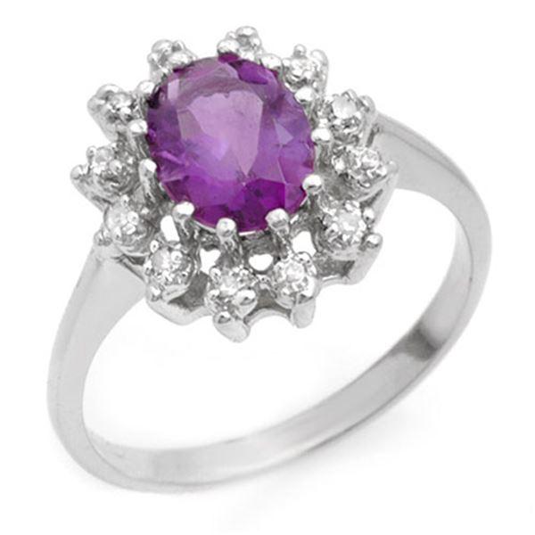 1.19 ctw Amethyst & Diamond Ring 18k White Gold - REF-30F2M