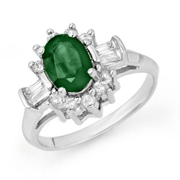 1.98 ctw Emerald & Diamond Ring 18k White Gold - REF-55H9R