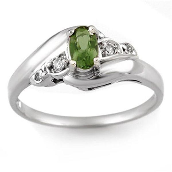 0.42 ctw Green Tourmaline & Diamond Ring 10k White Gold - REF-13F2M