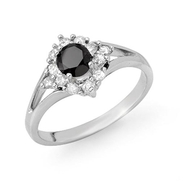 0.85 ctw VS Certified Black & White Diamond Ring 18k White Gold - REF-44K3Y
