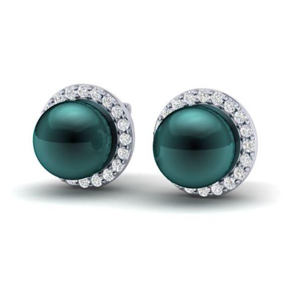 0.50 ctw Micro VS/SI Diamond & Peacock Pearl Earrings 18k White Gold - REF-46N5F