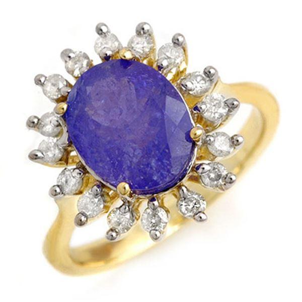 3.05 ctw Tanzanite & Diamond Ring 10k Yellow Gold - REF-96Y8X