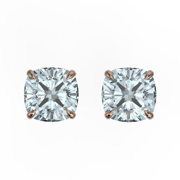 3 ctw Cushion Sky Blue Topaz Designer Stud Earrings 14k Rose Gold - REF-12G8W