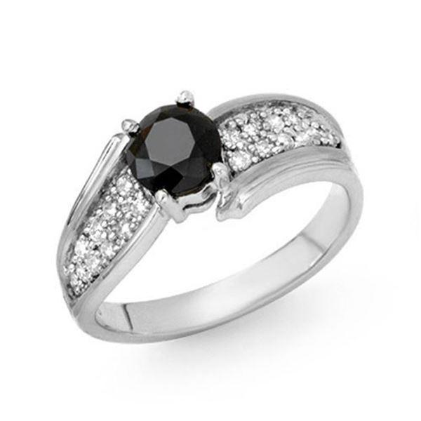 1.40 ctw VS Certified Black & White Diamond Ring 18k White Gold - REF-86K8Y