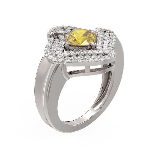 2.82 ctw Canary Citrine & Diamond Ring 18K White Gold - REF-163R3K