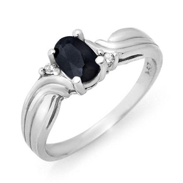 0.61 ctw Blue Sapphire & Diamond Ring 18k White Gold - REF-24G4W
