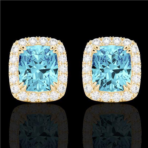 2.50 ctw Sky Blue Topaz & Micro VS/SI Diamond Earrings 10k Yellow Gold - REF-30A8N