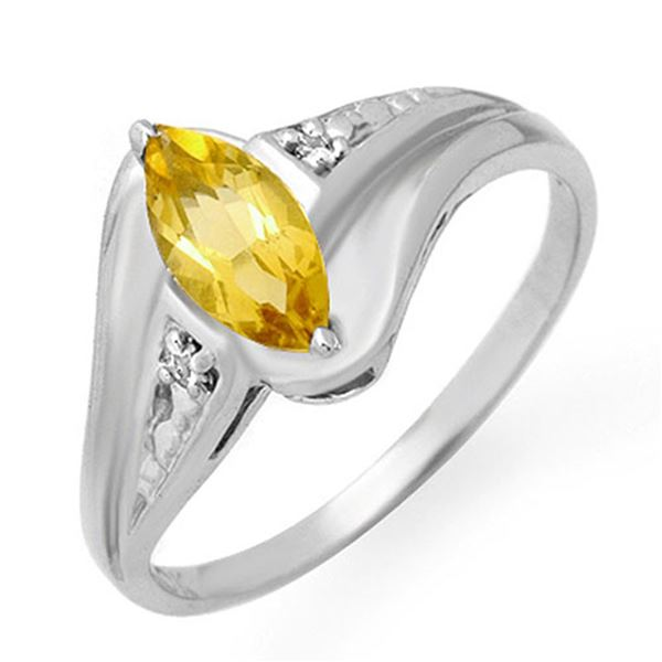 0.36 ctw Citrine & Diamond Ring 18k White Gold - REF-20H5R