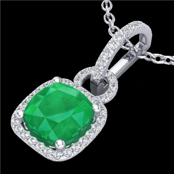 3 ctw Emerald & Micro VS/SI Diamond Certified Necklace 18k White Gold - REF-55G2W