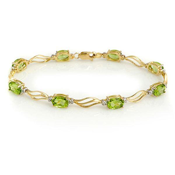 7.02 ctw Peridot & Diamond Bracelet 10k Yellow Gold - REF-31W3H