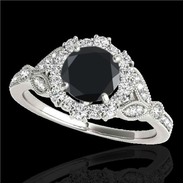 1.5 ctw Certified VS Black Diamond Solitaire Halo Ring 10k White Gold - REF-52H9R