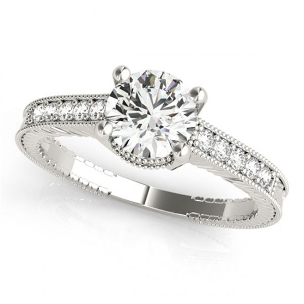 0.7 ctw Certified VS/SI Diamond Antique Ring 18k White Gold - REF-98X9A