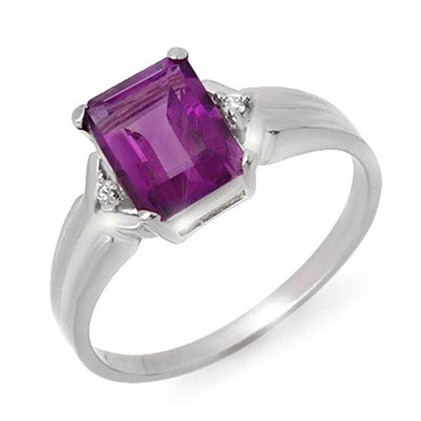 1.47 ctw Amethyst & Diamond Ring 10k White Gold - REF-9G8W