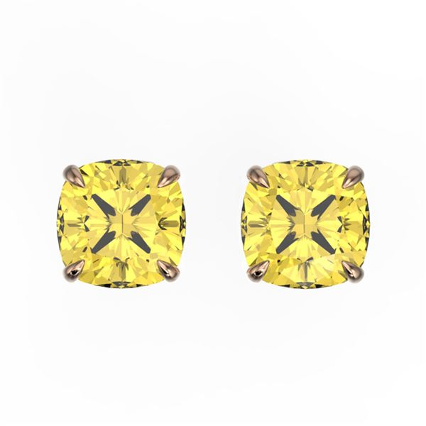 3 ctw Cushion Cut Citrine Designer Stud Earrings 14k Rose Gold - REF-12A8N