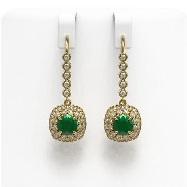 5.1 ctw Certified Emerald & Diamond Victorian Earrings 14K Yellow Gold - REF-172X8A