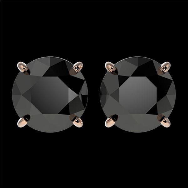 2.50 ctw Fancy Black Diamond Solitaire Stud Earrings 10k Rose Gold - REF-42H2R