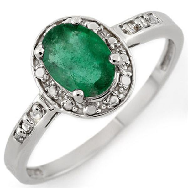0.85 ctw Emerald & Diamond Ring 10k White Gold - REF-11Y6X