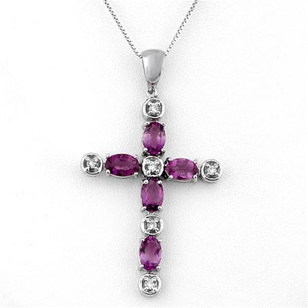 2.15 ctw Amethyst & Diamond Necklace 10k White Gold - REF-25N2F