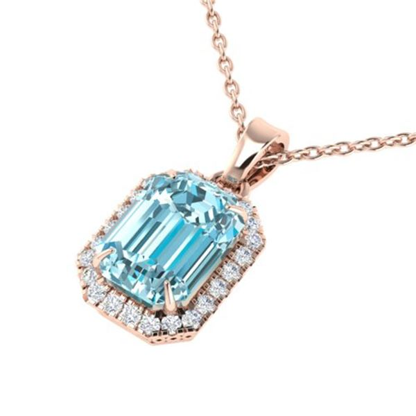 6 ctw Sky Blue Topaz & Micro Pave Diamond Necklace 14k Rose Gold - REF-32X8A