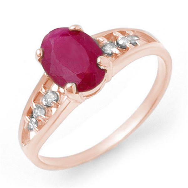 1.70 ctw Ruby & Diamond Ring 14k White Gold - REF-19Y3X