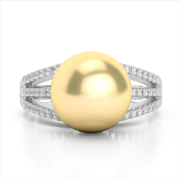 0.30 ctw Micro Pave VS/SI Diamond & Golden Pearl Ring 18k White Gold - REF-39N3F