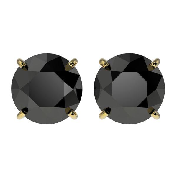 2.60 ctw Fancy Black Diamond Solitaire Stud Earrings 10k Yellow Gold - REF-43W2H