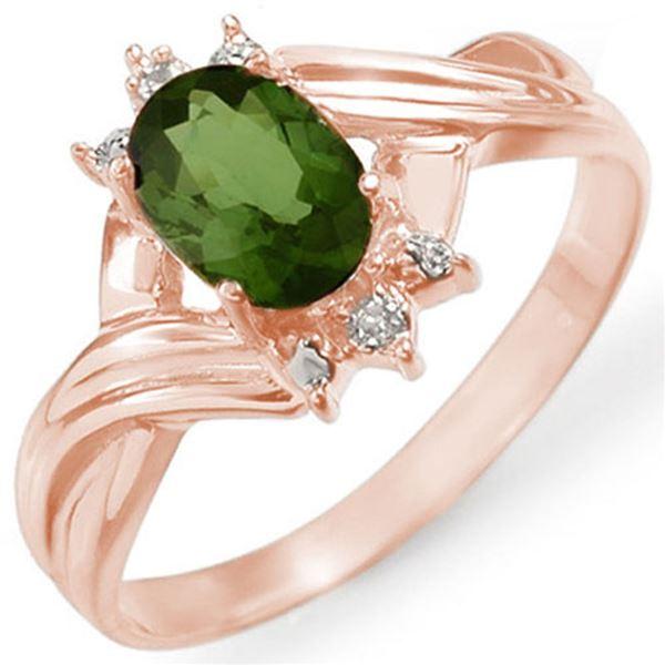 0.79 ctw Green Tourmaline & Diamond Ring 14k Rose Gold - REF-17A9N