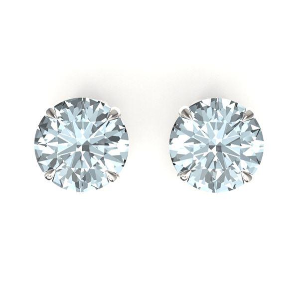 4 ctw Sky Blue Topaz Designer Stud Earrings 18k White Gold - REF-22Y2X
