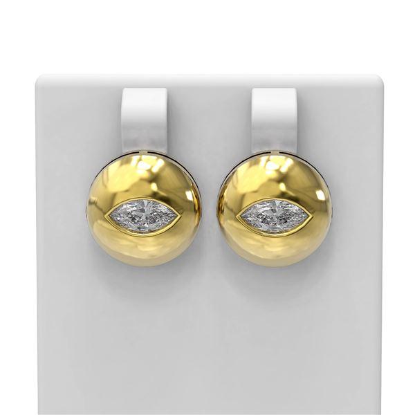 1.04 ctw Marquise Diamond Earrings 18K Yellow Gold - REF-225W3H