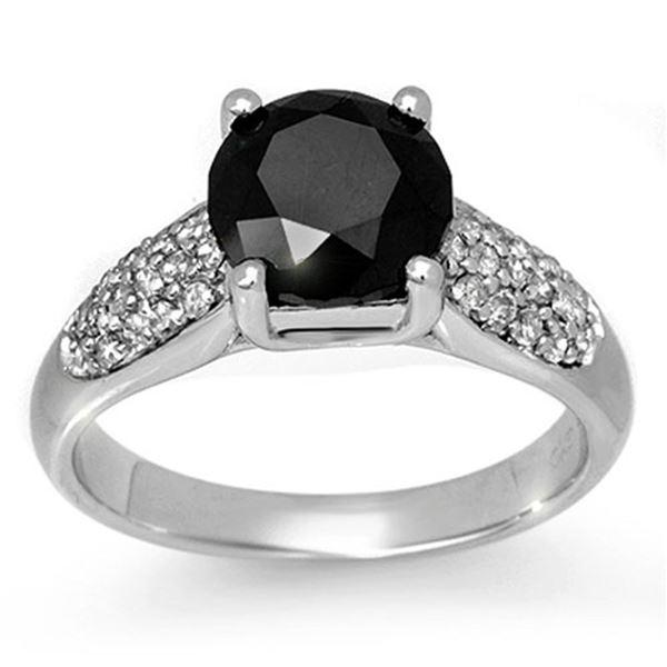 2.75 ctw VS Certified Black & White Diamond Ring 10k White Gold - REF-130M2G