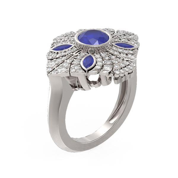 2.32 ctw Sapphire & Diamond Ring 18K White Gold - REF-175N8F