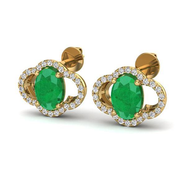 4 ctw Emerald & Micro Pave VS/SI Diamond Certified Earrings 10k Yellow Gold - REF-53G5W