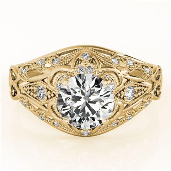 0.87 ctw Certified VS/SI Diamond Antique Ring 18k Yellow Gold - REF-109X2A