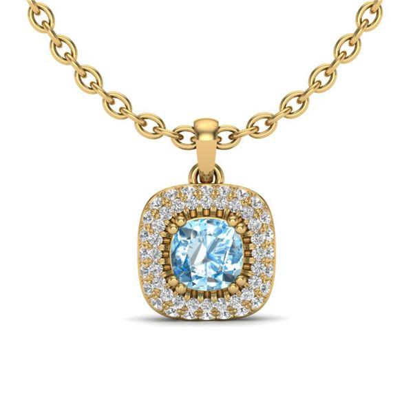 1.08 ctw Sky Blue Topaz & Micro VS/SI Diamond Necklace Halo 18k Yellow Gold - REF-50W8H