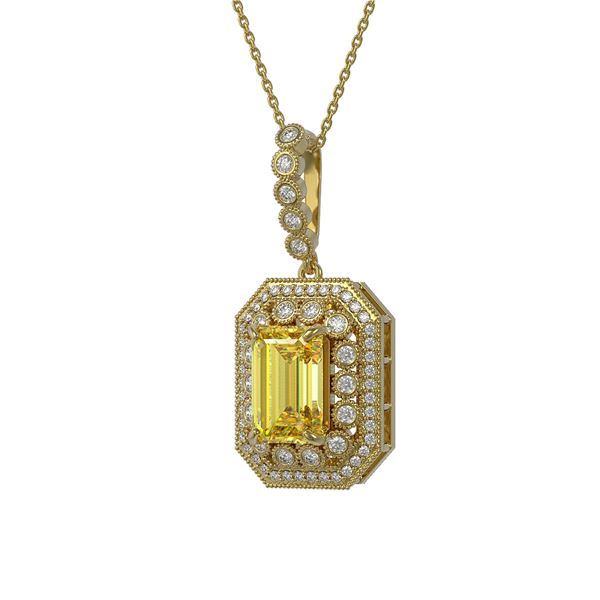 5.82 ctw Canary Citrine & Diamond Victorian Necklace 14K Yellow Gold - REF-172A8N