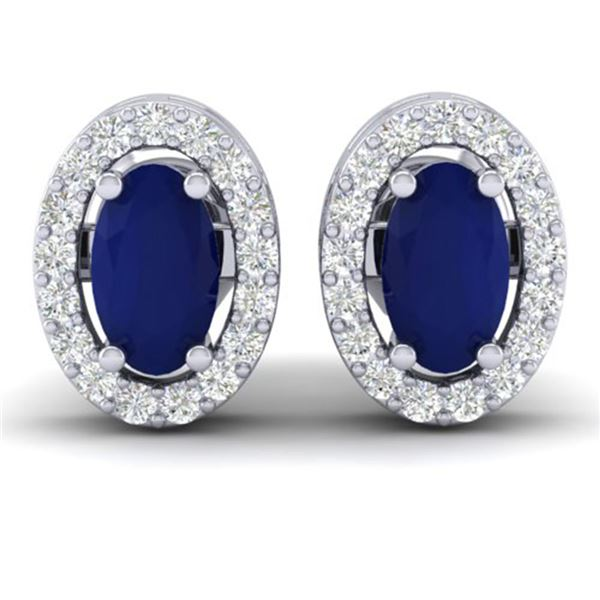 1.02 ctw Sapphire & Micro Pave VS/SI Diamond Earrings 18k White Gold - REF-24R5K
