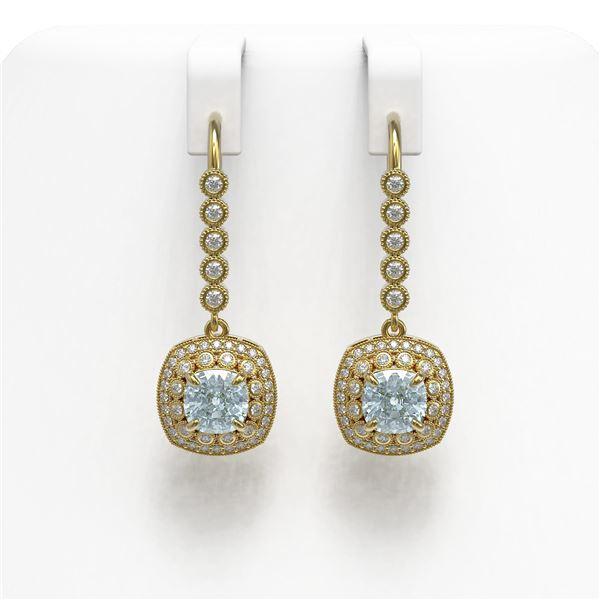 4.5 ctw Aquamarine & Diamond Victorian Earrings 14K Yellow Gold - REF-172R8K