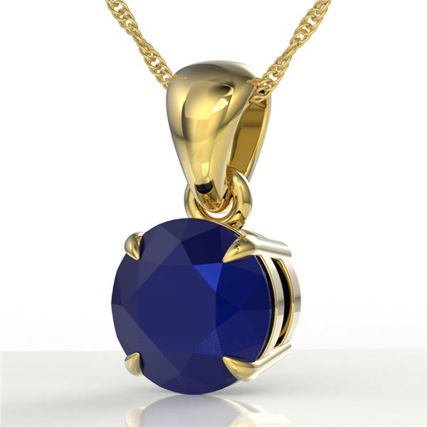 2 ctw Sapphire Designer Solitaire Necklace 18k Yellow Gold - REF-18N4F