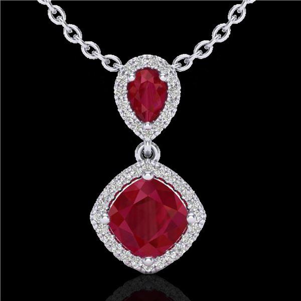 3.50 ctw Ruby & Micro Pave VS/SI Diamond Necklace 10k White Gold - REF-55F2M