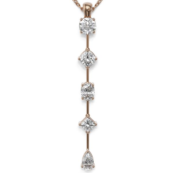 1.37 ctw Mix cut Diamonds Designer Necklace 18K Rose Gold - REF-174R3K
