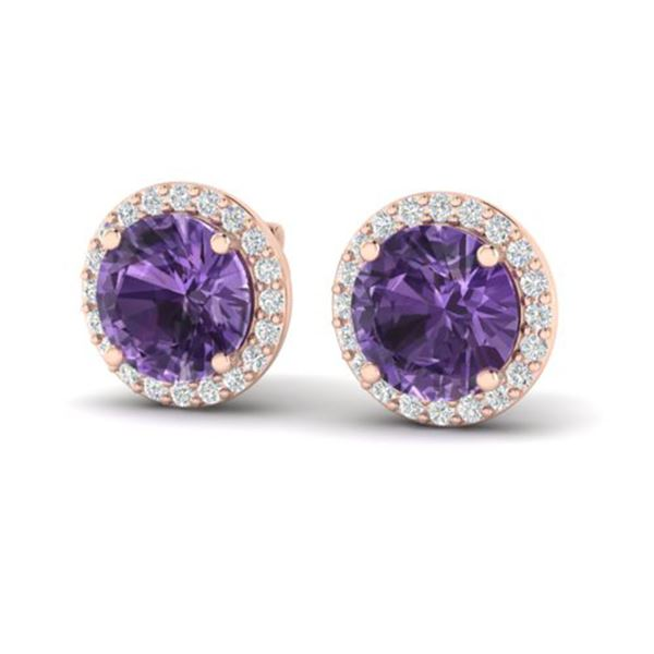 4 ctw Amethyst & Halo VS/SI Diamond Micro Pave Earrings 14k Rose Gold - REF-45X3A