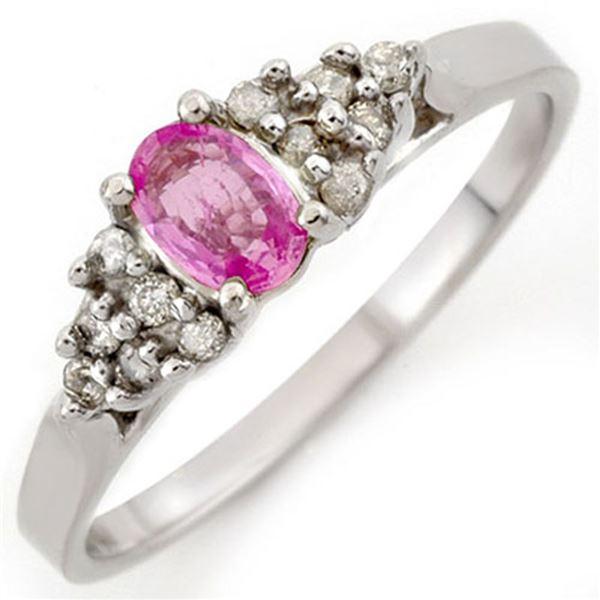 0.74 ctw Pink Sapphire & Diamond Ring 18k White Gold - REF-30X2A