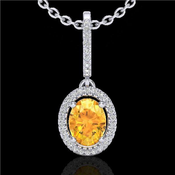 1.75 ctw Citrine & Micro Pave VS/SI Diamond Necklace 18k White Gold - REF-40W9H
