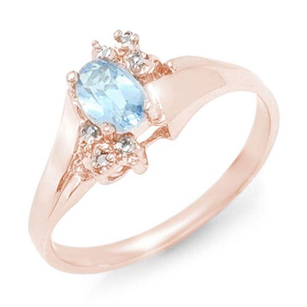 0.52 ctw Blue Topaz & Diamond Ring 10k Rose Gold - REF-10H9R