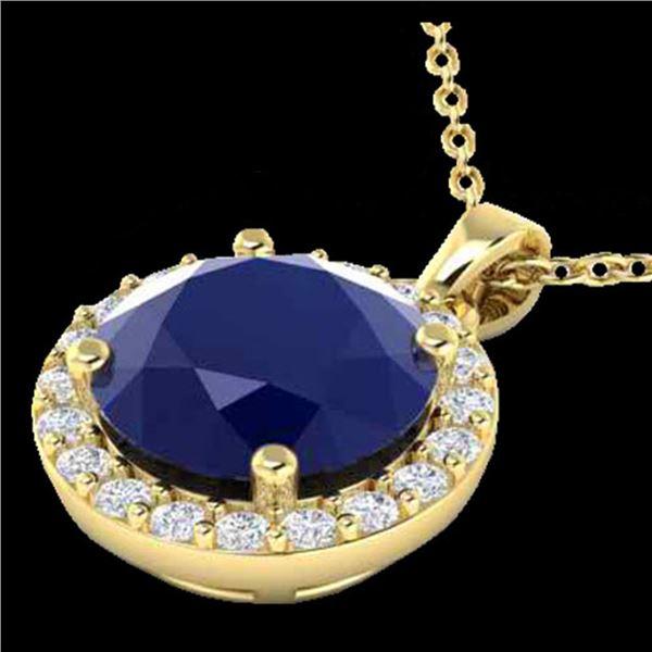 2 ctw Sapphire & Halo VS/SI Diamond Micro Pave Necklace 18k Yellow Gold - REF-33F2M
