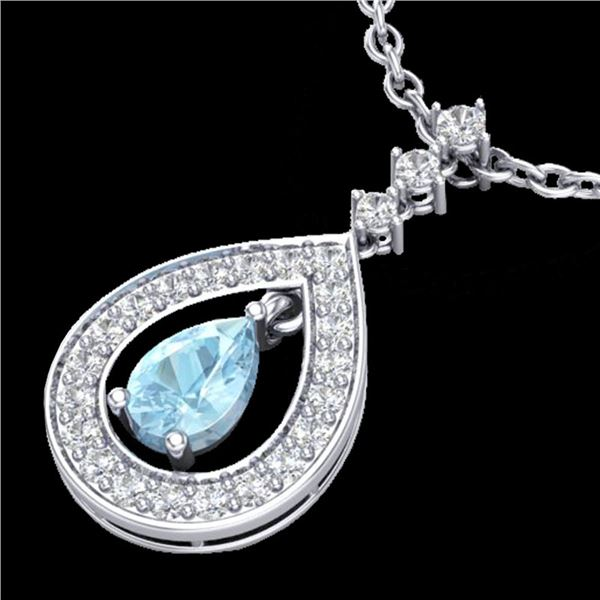 1.15 ctw Aquamarine & Micro Pave VS/SI Diamond Necklace 14k White Gold - REF-47M5G