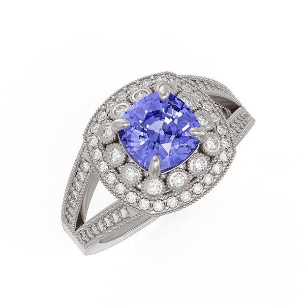2.74 ctw Certified Tanzanite & Diamond Victorian Ring 14K White Gold - REF-101G8W