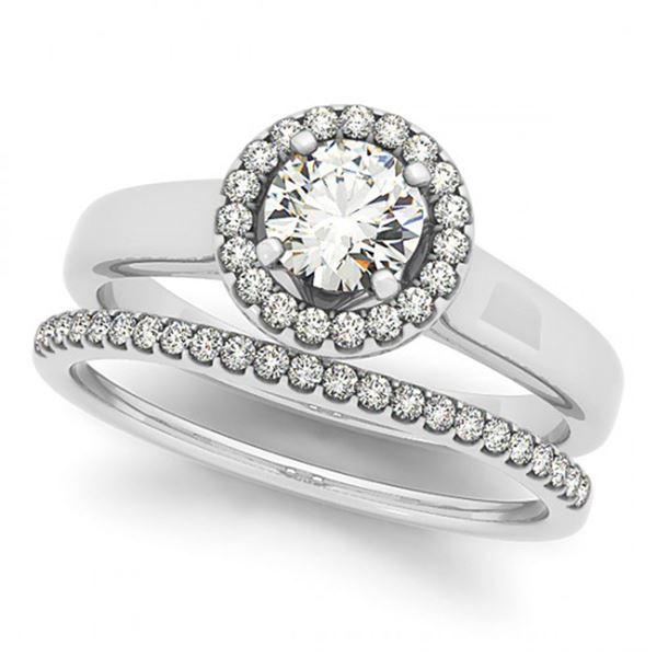 0.80 ctw Certified VS/SI Diamond 2pc Wedding Set Halo 14k White Gold - REF-90Y4X